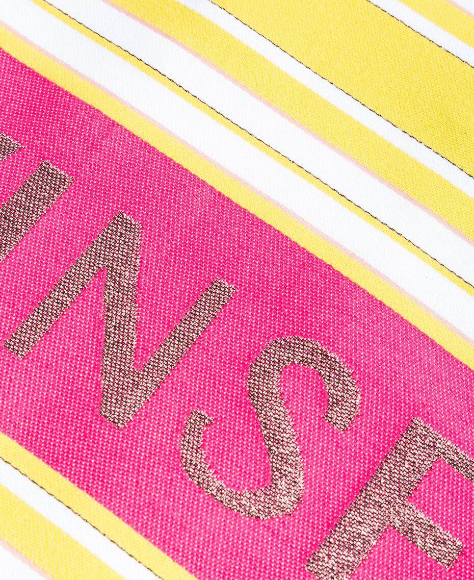 "Cotton beach towel with jacquard stripes ""Bronze"" Brown / ""Lemon Juice"" Yellow Multicolour Striping Woman 191LB4ANN-02"
