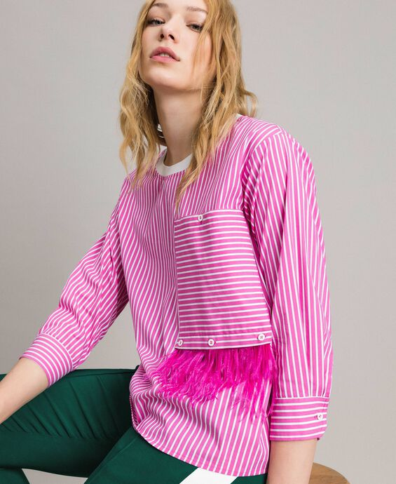 Striped poplin blouse with feathers
