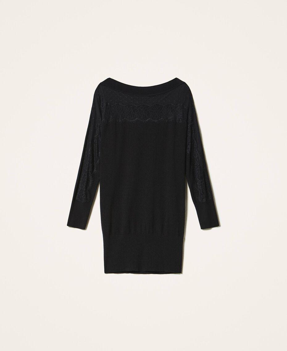 Vestido de punto con tul y encaje Negro Mujer 202TP3380-0S