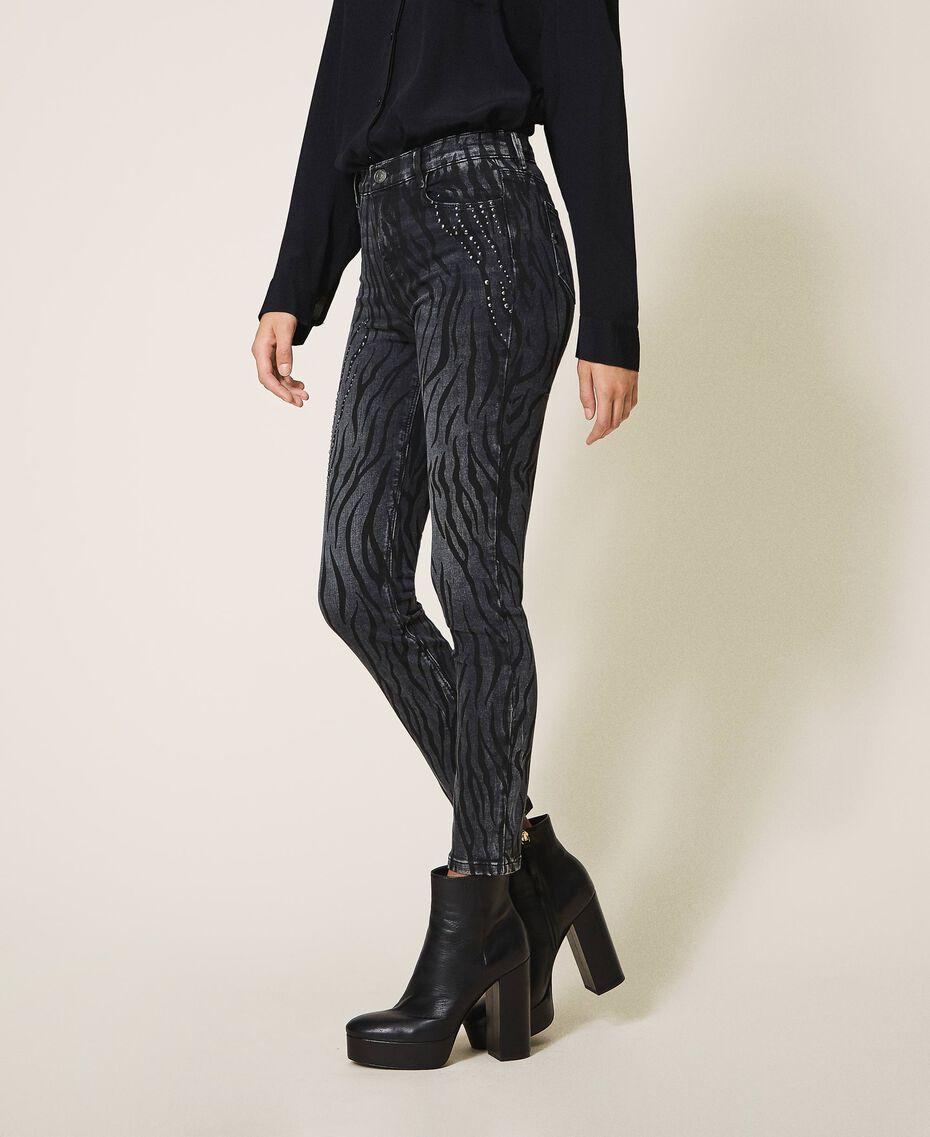 Animal print push-up jeans with studs Black Denim Woman 202MP2221-02