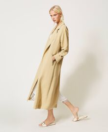 "Linen blend trench coat ""Cuban Sand"" Pink Woman 211TT2580-06"