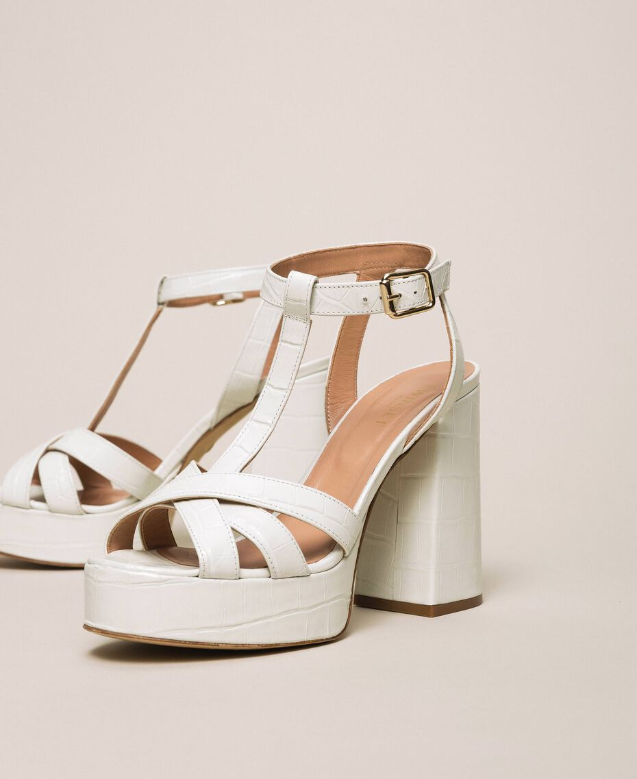 "Leather T-bar sandals ""Snow"" White Crocodile Print Woman 201TCP072-03"