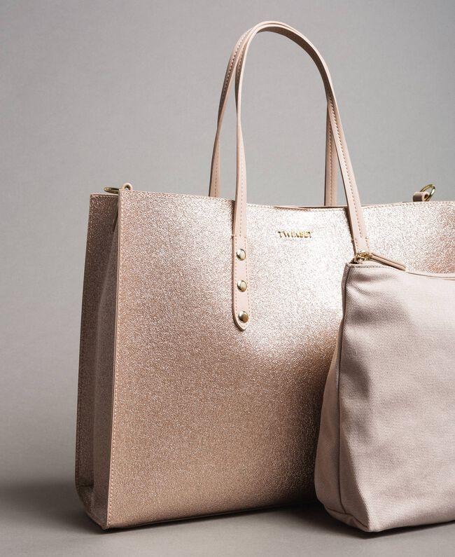 Shopper aus beschichtetem Lederimitat Roségold Frau 191TA7240-04