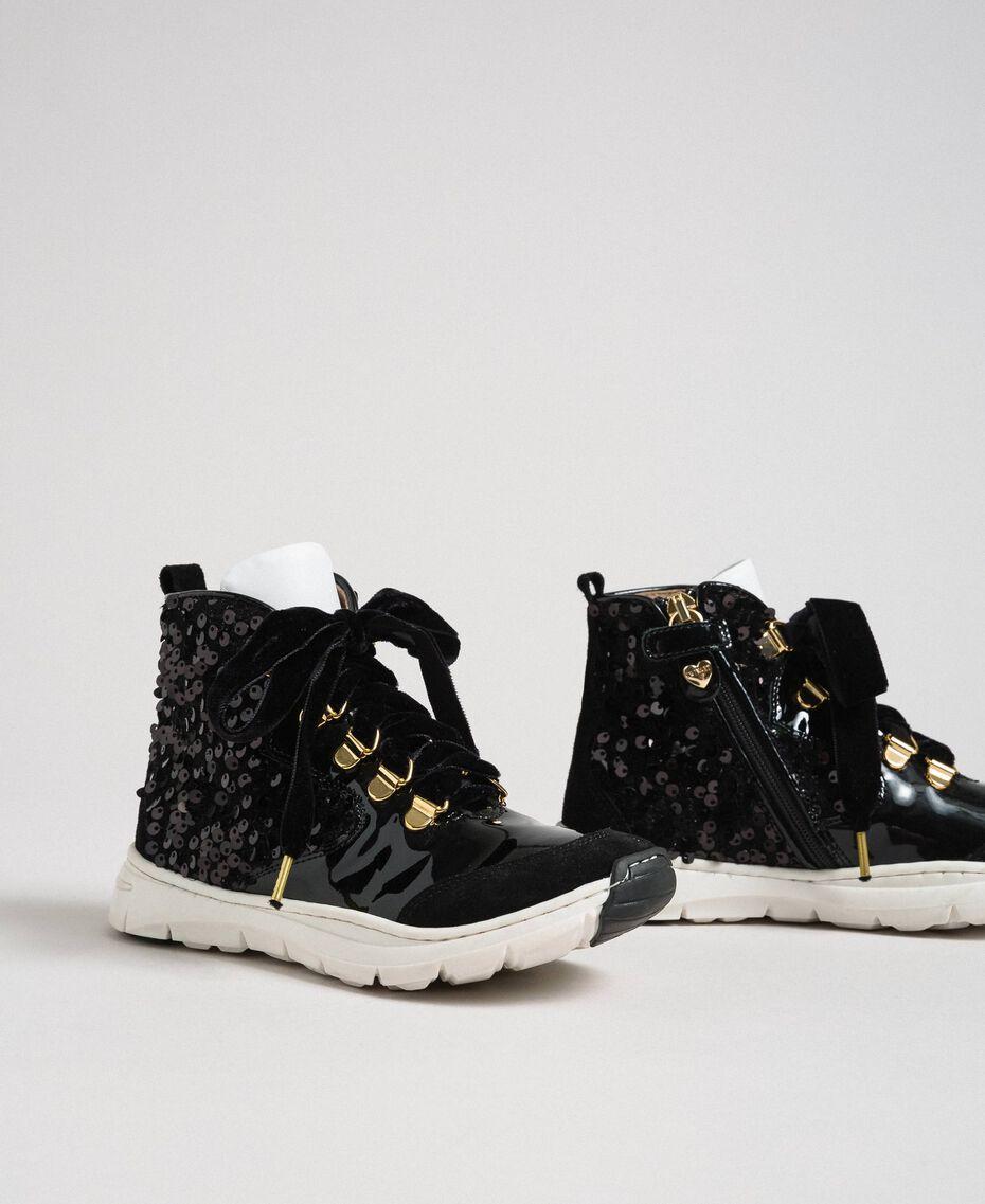 Sneakers alte in pelle con paillettes Nero Bambina 192GCJ046-01