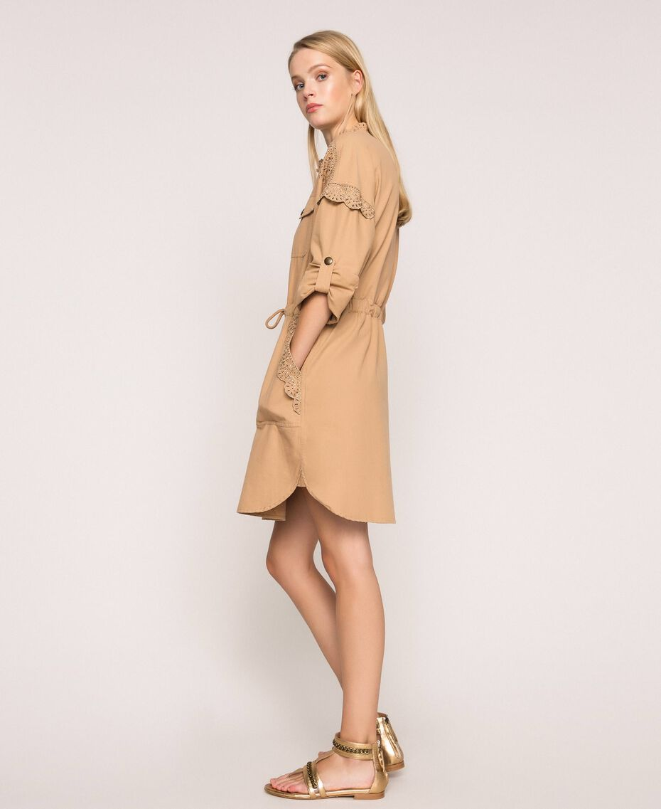"""Canvas dress with broderie anglaise """"Dune"""" Beige Woman 201TP2014-02"""