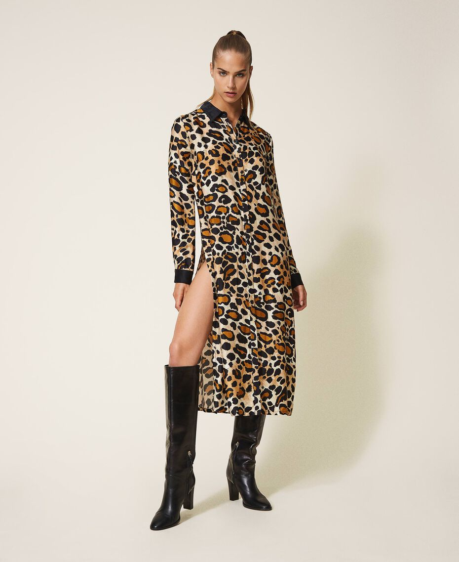 Shirt dress made of animal print satin Animal Print Woman 202LL2EGG-01