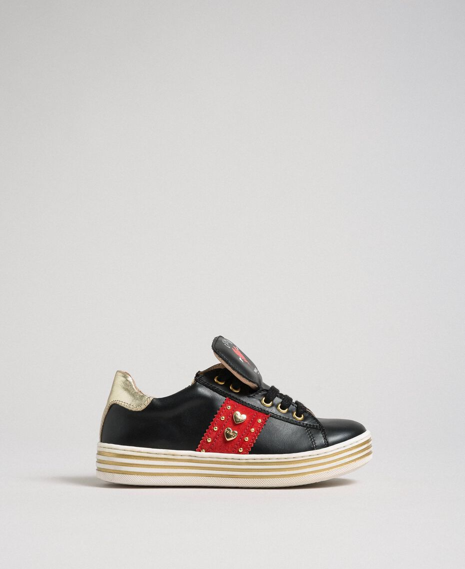 Leather trainers with hearts and studs Black Child 192GCJ012-01