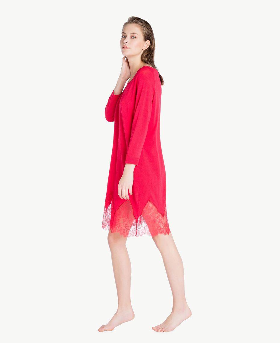 Kleid mit Spitze Kirschrot Frau LS8BPP-03