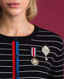 Striped cardigan with army style brooches Two-tone Black / Lily Woman 192MP3251-05