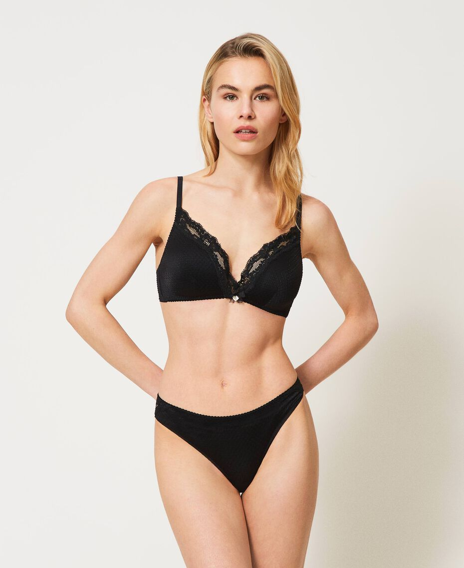 Jacquard triangle bra with lace Black Woman 211LL6222-01