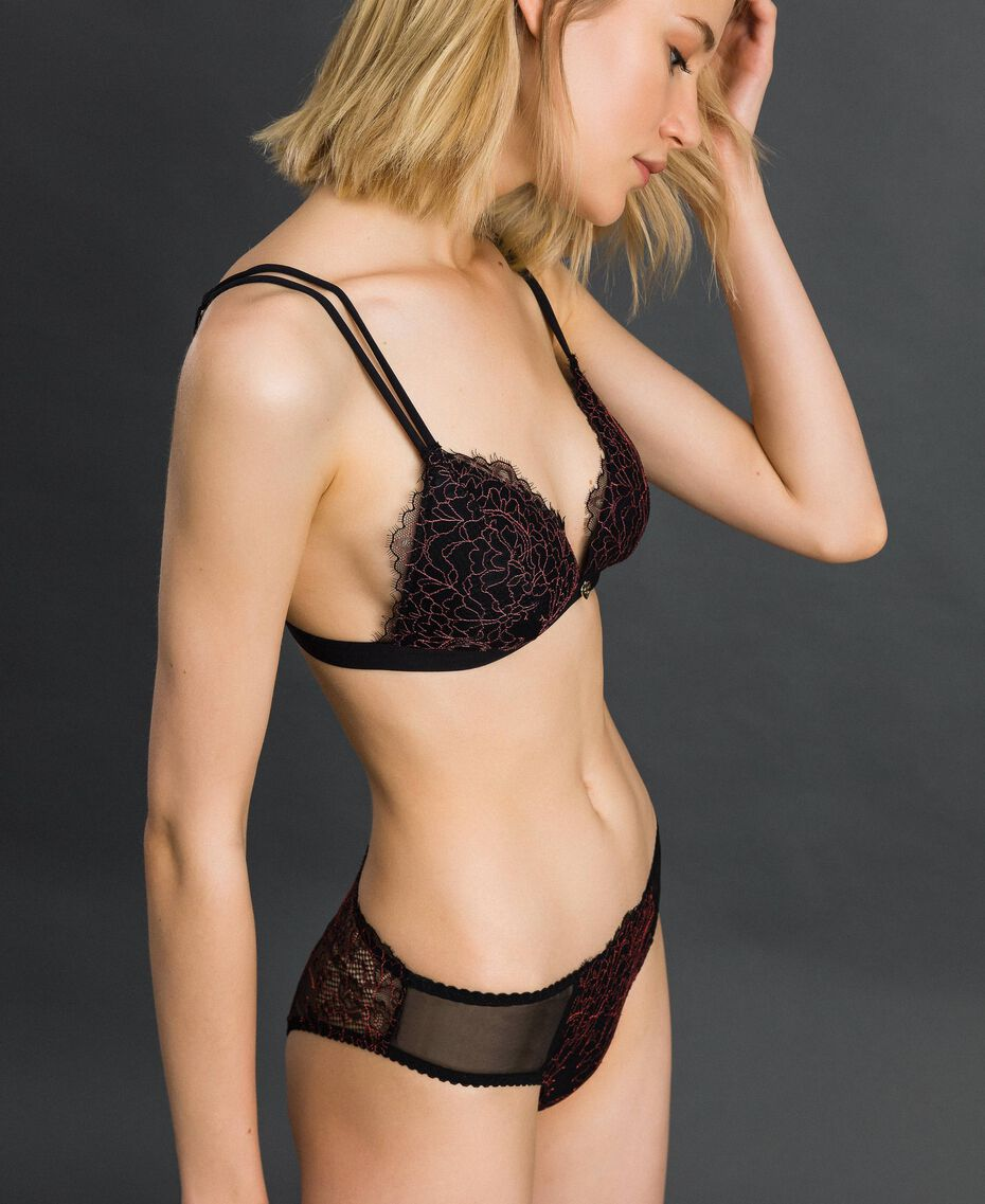 "Two-tone lace briefs Black / ""Dolly"" Pink Woman 192LI6466-01"