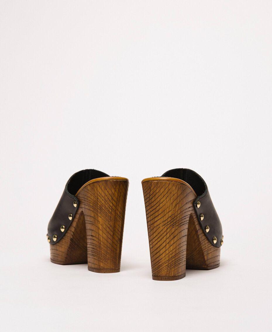 Pantolette aus Leder Schwarz Frau 201MCT01E-02