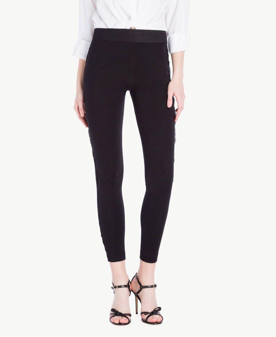Legging dentelle Noir Femme PS828F-01
