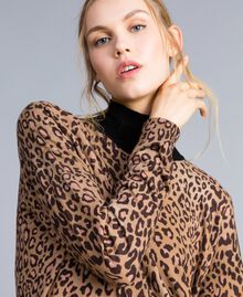 Animal print viscose blend mock neck jumper Maxi Animal Print Woman SA83KB-04