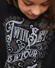 T-shirt with graphic pattern print Two-tone Black / Gothic Print Child 202GJ2354-04