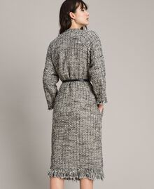 """Fringed tweed duster coat Two-tone """"Snow"""" White Bouclé / Black Woman 191TP2521-03"""