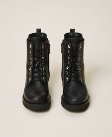 Leather combat boots with studs Black Woman 202TCP146-05
