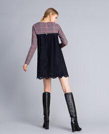 Check flannel and macramé lace dress Grey / Red Check Jacquard Woman SA82FF-03