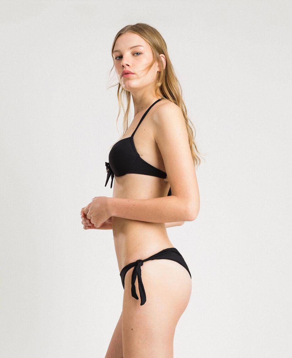 Brazilian-Bikinihose mit Schleifen Schwarz Frau 191LBM277-02