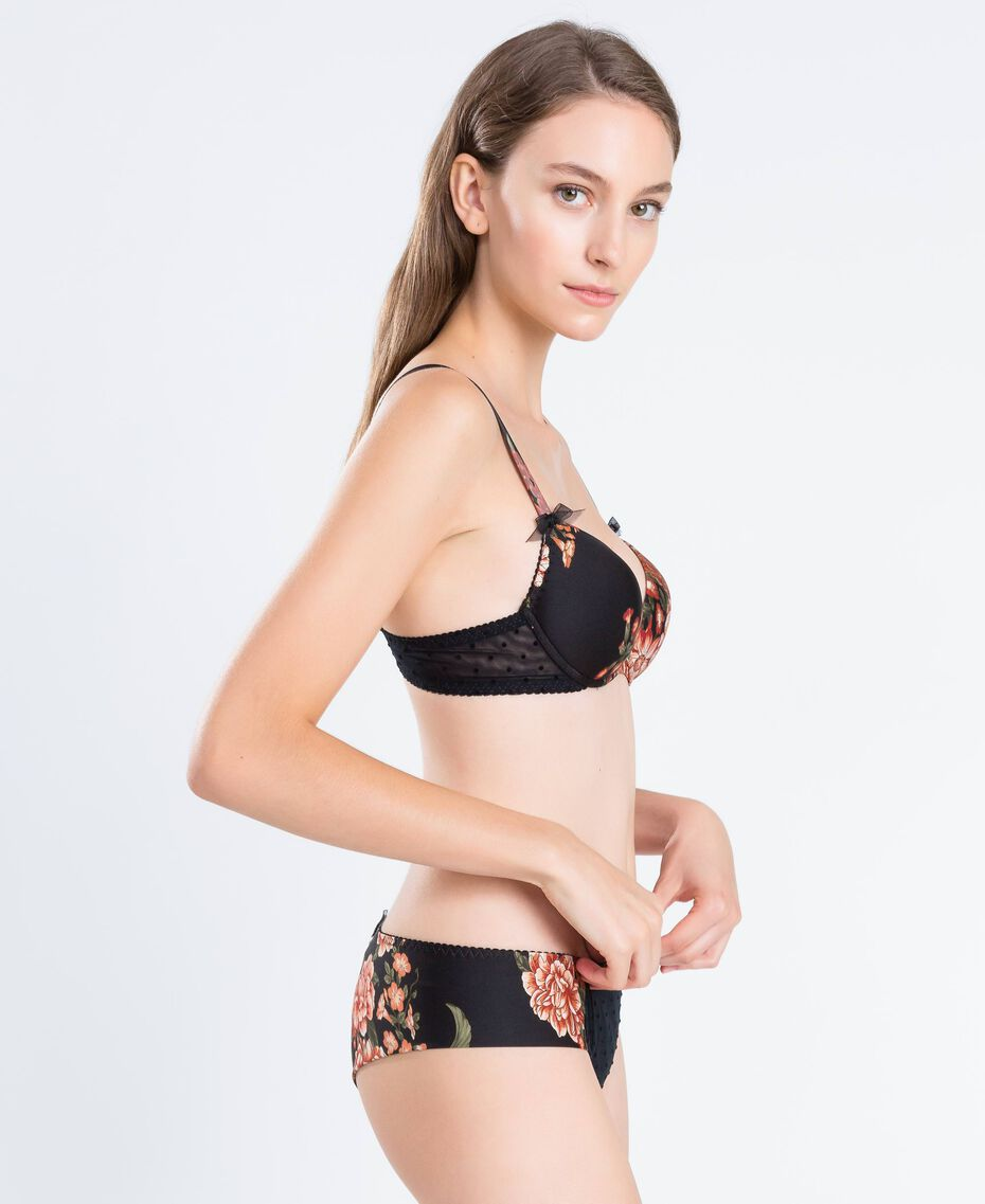 Tulle and printed microfibre push-up Black Flower Print Woman LA8K44-0S