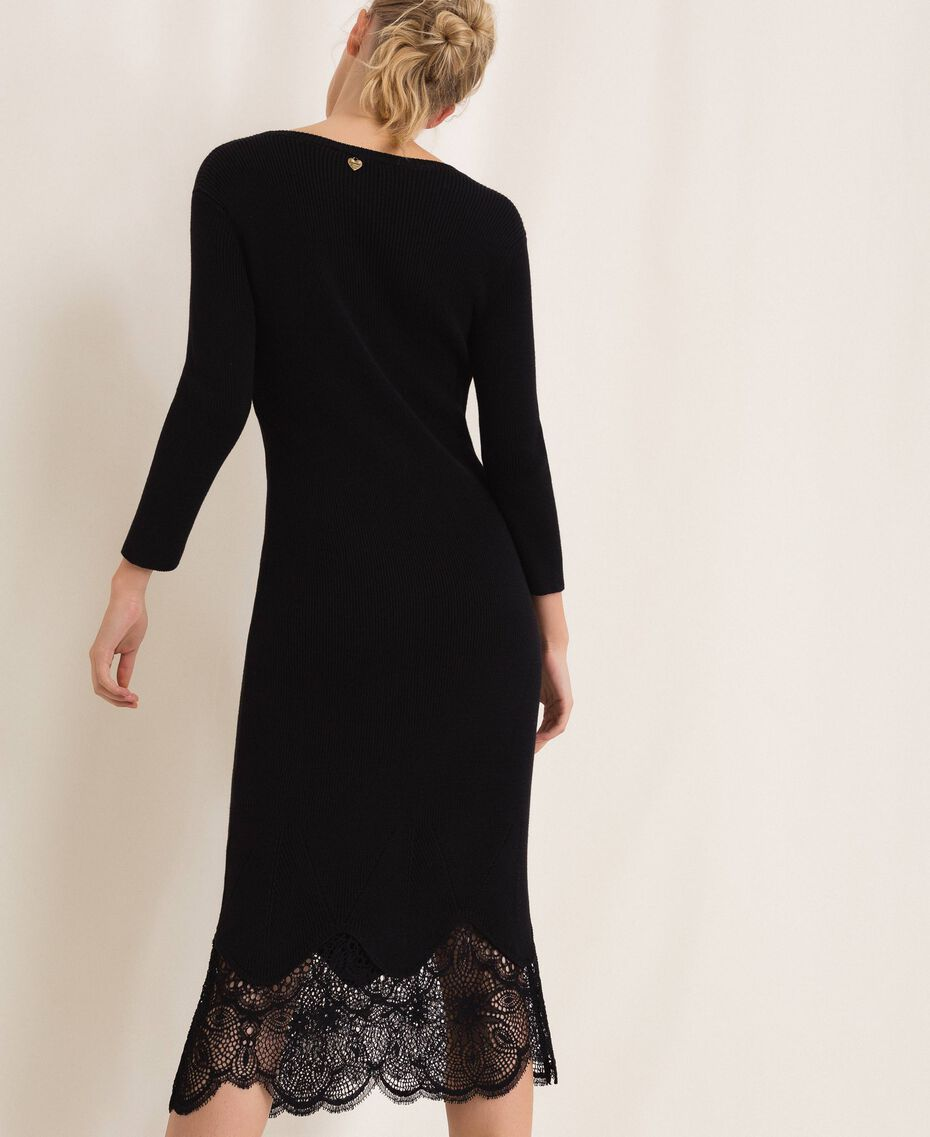 Ribbed sheath dress with lace Black Woman 201TP3120-02