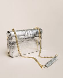 Medium Rebel leather shoulder bag Titanium Gray Woman 999TA7233-03