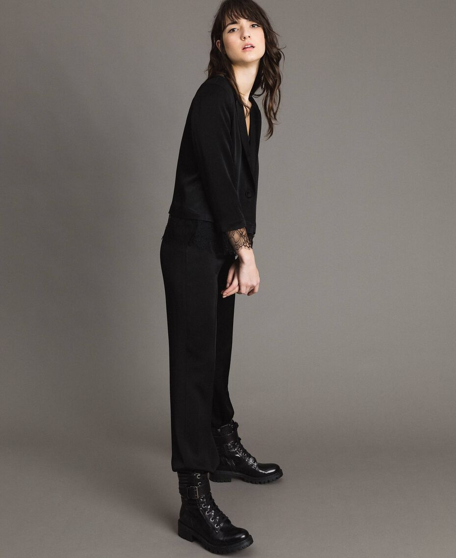 Veste blazer avec dentelle Noir Femme 191TP2731-02