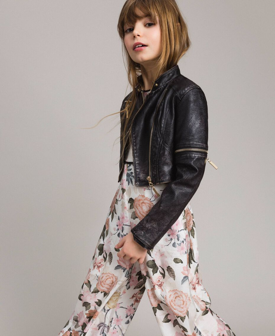 Faux leather jacket with zip Black Child 191GJ2103-02