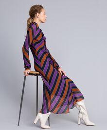 Maxikleid aus Georgette mit Streifen Streifenprint mehrfarbig Frau TA8294-0T