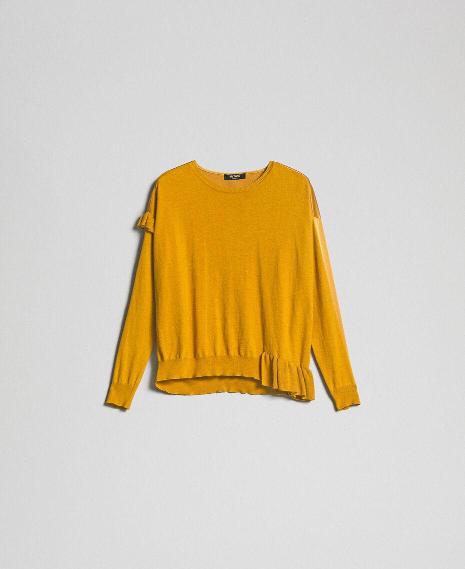 Boxy jumper with asymmetric flounce Saffron Yellow Woman 192MP3193-0S