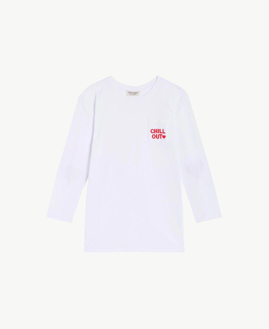 Maxi t-shirt poche de poitrine Bicolore Blanc Papyrus / Rouge Grenadier Enfant GS82KB-01