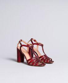 Sandalette aus Animalierleder Schlangenhaut Bordeaux Frau CA8PQ3-02