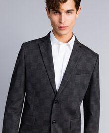 Completo giacca e pantalone stampato Stampa Quadri Grigio Melange Uomo UA82BN-03