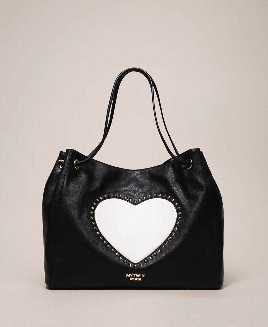 "Hobo bag with studs and heart Black / ""Vanilla"" White Woman 201MA7093-01"