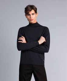 Pull col montant in laine rayée Bicolore Gris Anthracite Chiné / Noir Homme UA83AC-02