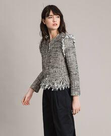 "Fringed tweed jacket Two-tone ""Snow"" White Bouclé / Black Woman 191TP2523-02"