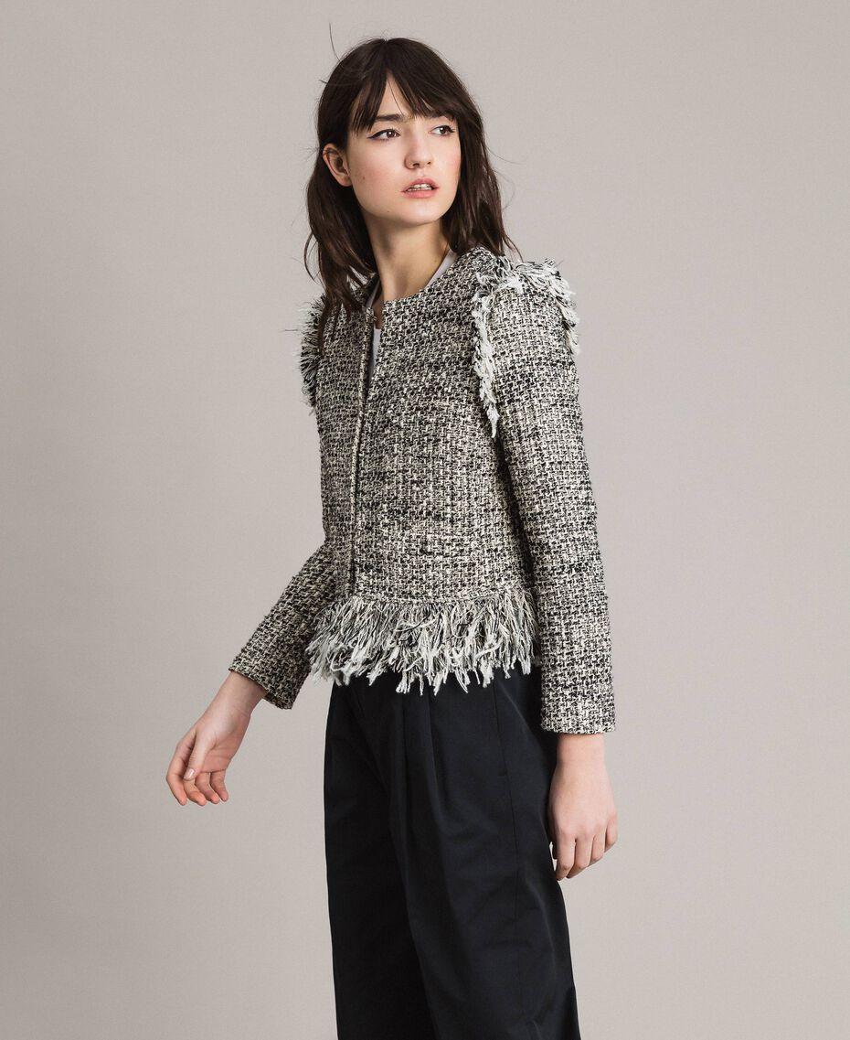 """Tweed-Jacke mit Fransen Zweifarbig """"Snow"""" Weiß Bouclé / Schwarz Frau 191TP2523-02"""
