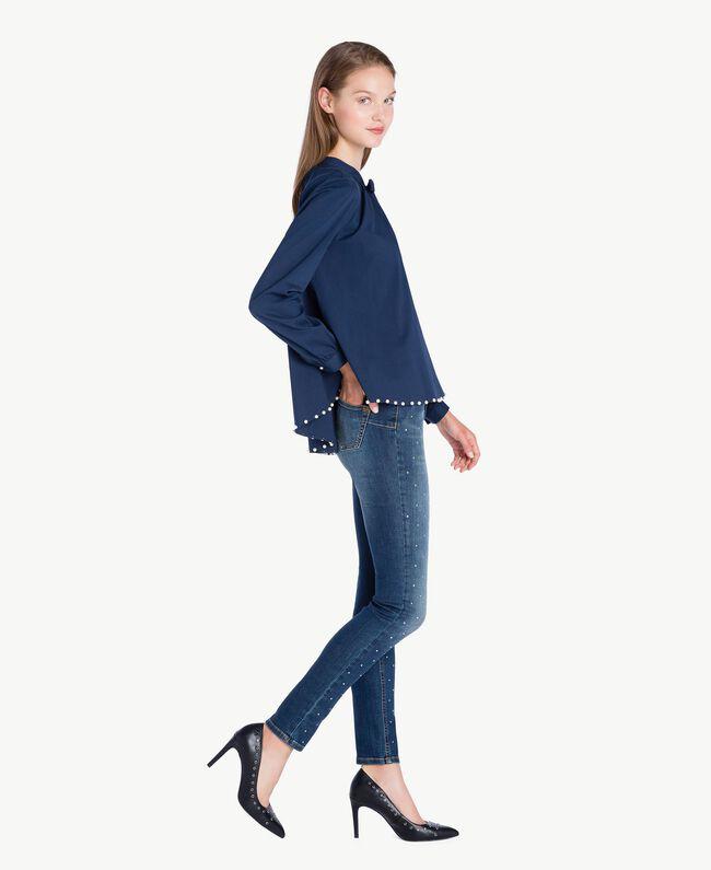 Jean skinny strass Bleu Denim JA72S4-01