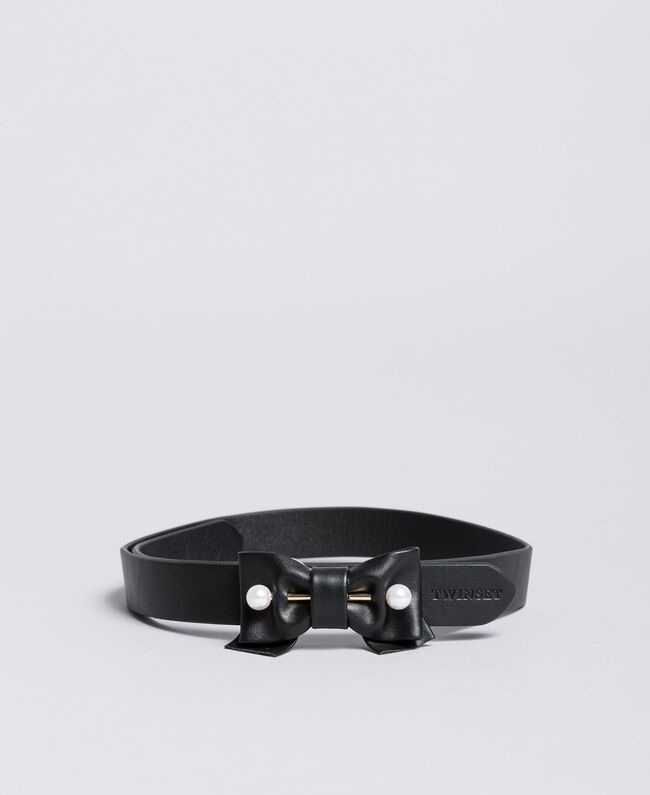 Cintura in similpelle con fiocco Nero Bambina GA8CGG-01
