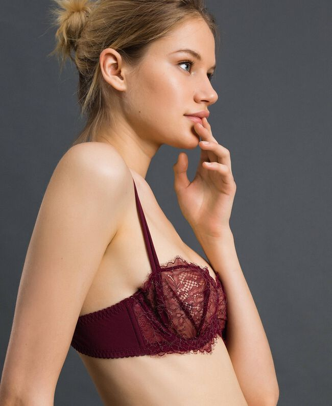 Two-tone lace balconette bra Purple Red / Lead Grey Woman 192LI6433-01