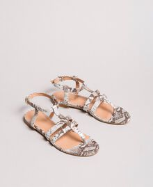 Animal print leather flat sandals Ice Python Print Woman 191TCP13A-01