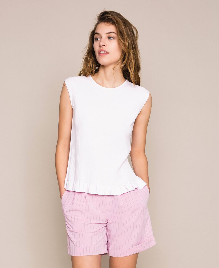 """Ribbed top with ruffle Pale """"Candy"""" Pink Woman 201ST3122-01"""