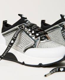 Sneakers de piel con strass Bicolor Blanco «Off White» / Plata Niño 211GCJ020-04