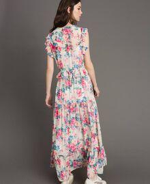 Robe en georgette à volants et froufrous Imprimé Fleur Tissu Blanc Femme 191MP2330-03