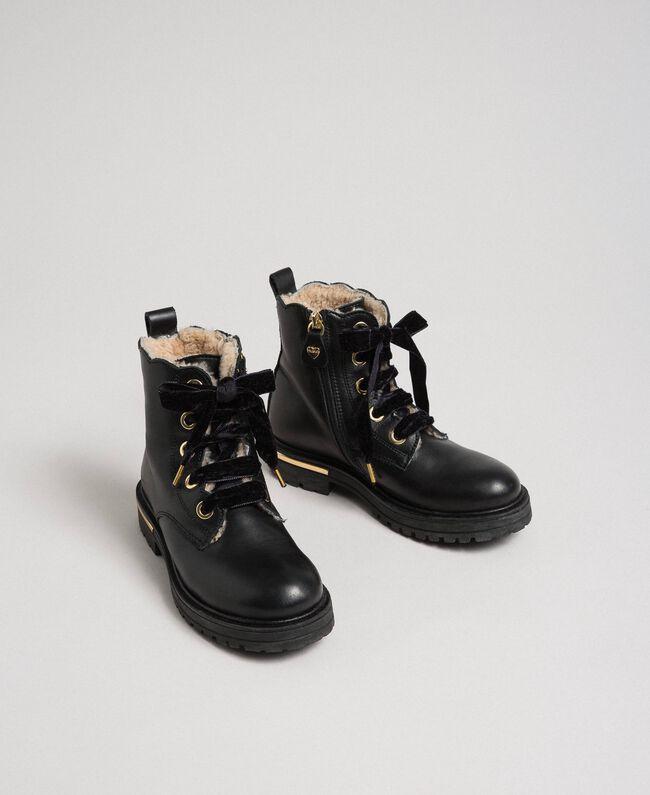 Bottines en cuir avec intérieur en shearling Noir Enfant 192GCJ044-01