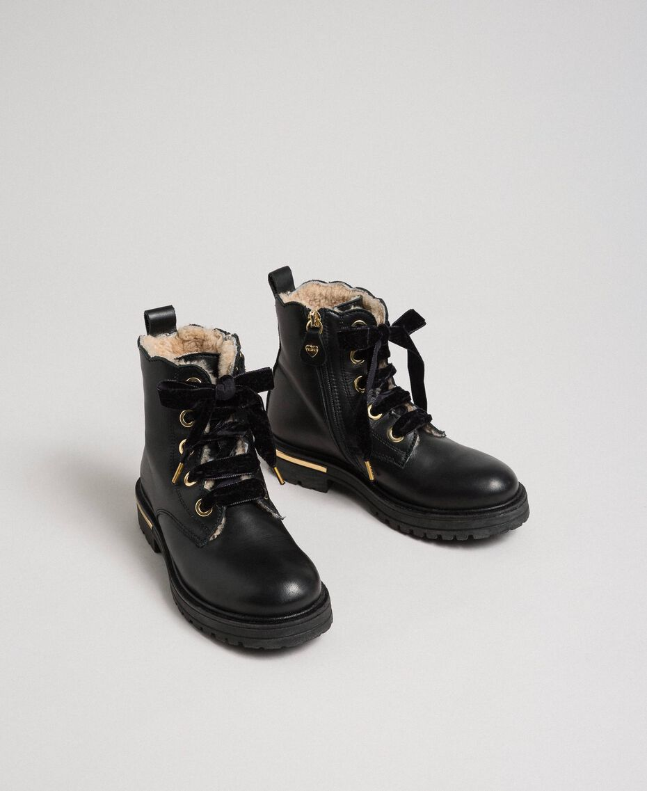Leather ankle boots with shearling lining Black Child 192GCJ044-01
