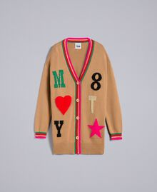Maxi wool blend cardigan with inlays Caramel Woman YA83AN-0S