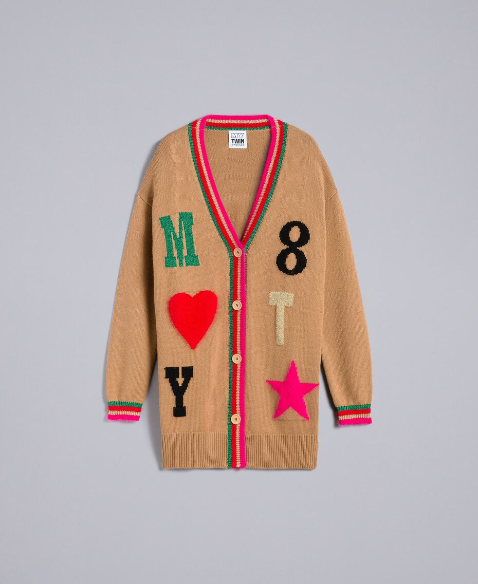 Maxicardigan aus Wollmischung mit Intarsien Karamell Frau YA83AN-0S