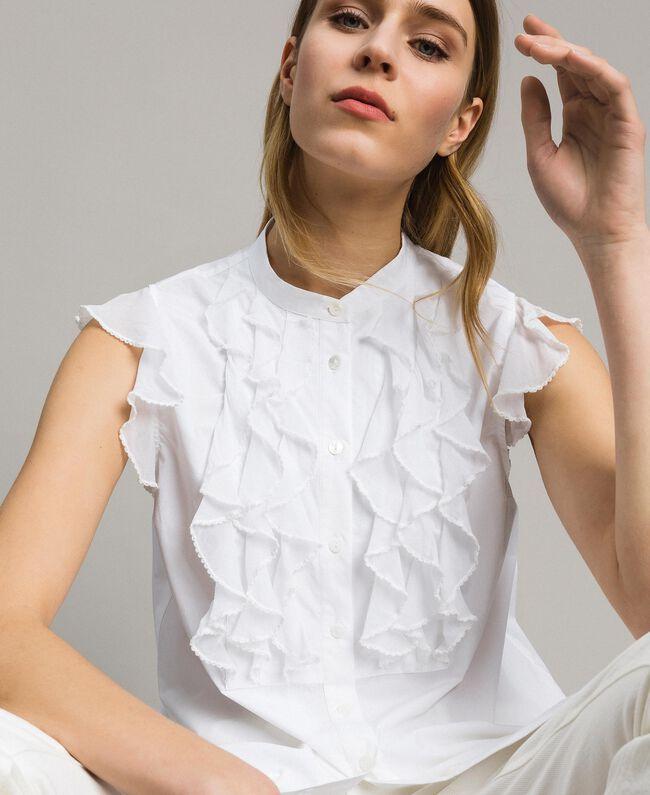 Popeline-Hemd mit Rüschen Weiß Frau 191TT2260-04