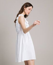 Poplin dress with ruches and brooch White Woman 191MT2050-03